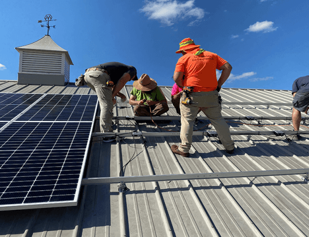 Comfortworks - Oklahoma solar pole bar - solar panel installation on a roof for energy savings and long-term energy independence.