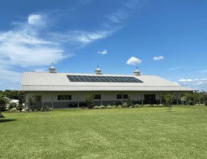 Comfortworks - finish product of a solar installation on a multi-functional pole building.